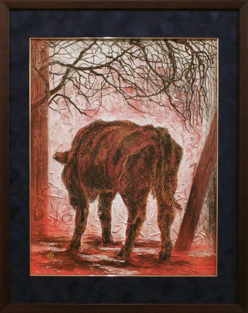 179 赤い牛(3枚組1) 戸田みどり